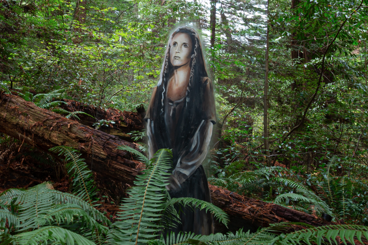 Carrie Fisher mural in wilderness close up